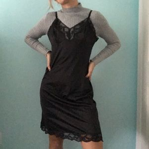 Black Midi Lace Slip Dress